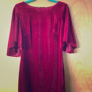 Belle Badgley Mischka red velvet cocktail dress 8